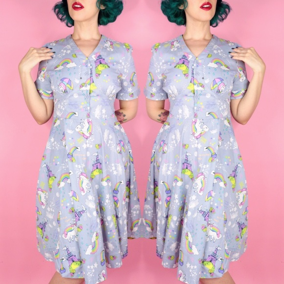Lindy Bop Dresses & Skirts - Unicorn and Fairytale Novelty Print Dress